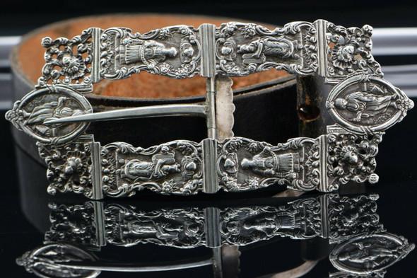 Jewish Dutch Netherlands Rococo Silver Buckle Circa 1903 Scenes of Yom Kippur