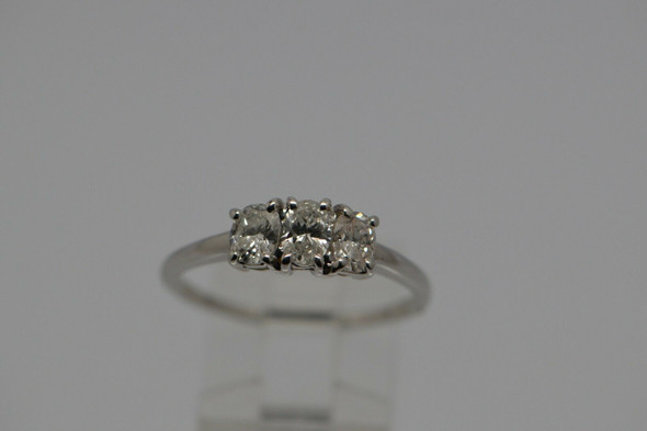 14K WG Oval 3 Stone Diamond Ring, 1 ct. tw. F SI 2, Size 10