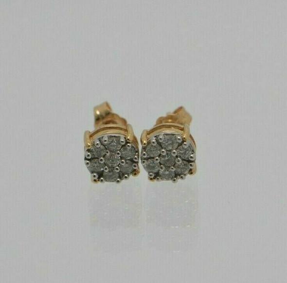 14K YG Diamond Stud Cluster Earrings with 7 stones each, 1 ct tw - H SI 2