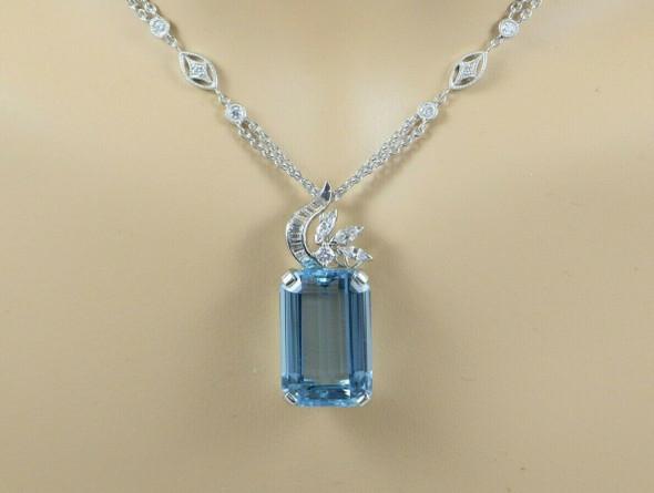 Tiffany Platinum Aquamarine Pendant & Diamond Necklace Platinum .950 Chain
