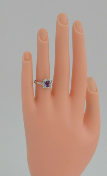 10K White Gold Amethyst and Diamond Halo Ring, Size 5
