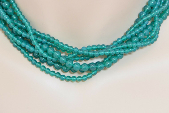 """Tiffany & Co. Sterling Silver Green Onyx, 7 Strand Beaded Necklace 16"""" in length"""