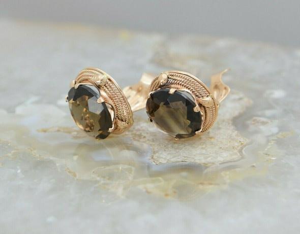 14K Rose Gold Ear Clips with Smokey Quartz Stones