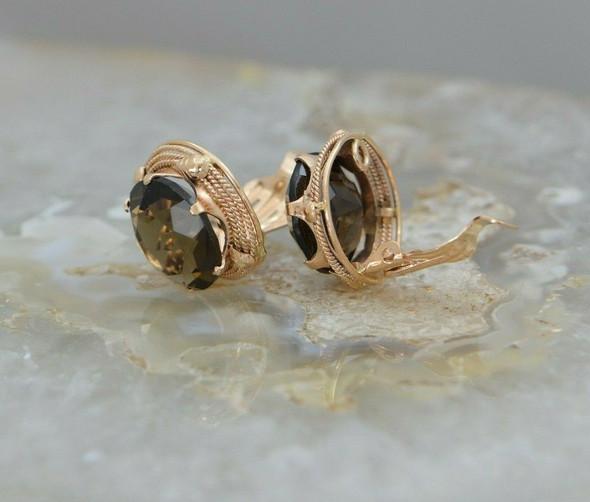 14K Rose Gold Ear Clips with Smokey Quartz Stones