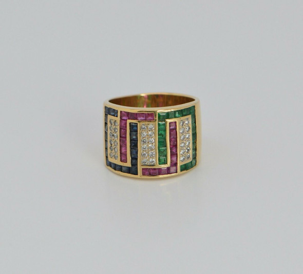 18K Yellow Gold Emerald, Sapphire, Ruby and Diamond Ring Circa 1970, Size 9