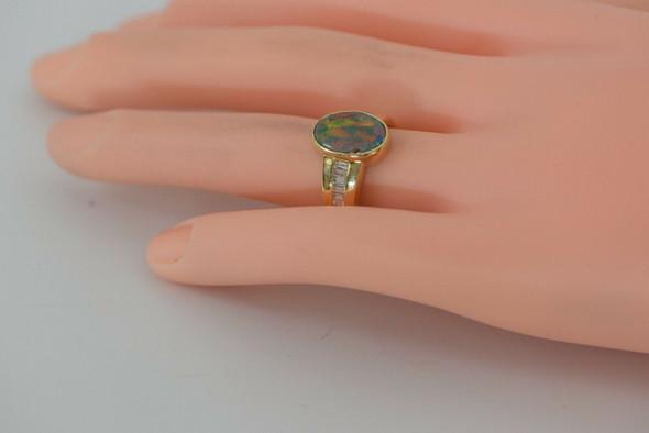 18K YG Opal Boulder Doublet Ring, 14 Diamond Baguette Side Stones, Size 6