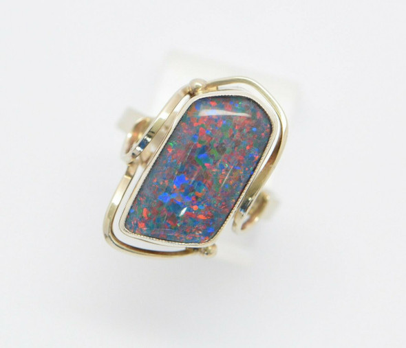 9K Yellow Gold Freeform Doublet Opal Ring, Size 8