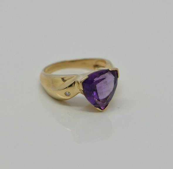 14K YG Amethyst & Diamond Accent Ring, Size 6.75, Circa 1990