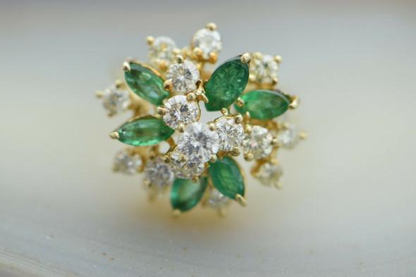 14K YG Diamond & Emerald Cocktail Ring 4 ct tw, Size 6.75 Circa 1960