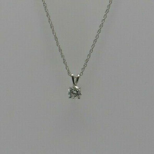 "14K WG Round Diamond Necklace with 20"" chain Circa 1980"