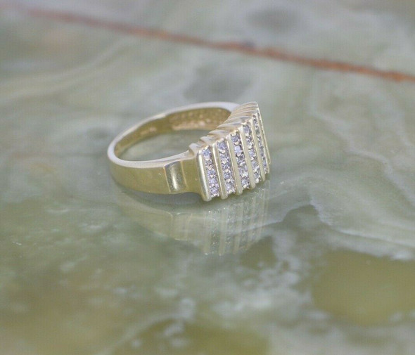 14K YG Diamond Ring, 35 Round Stones in 7 Rows, 1/2 ct tw, Size 7,Circa 1960