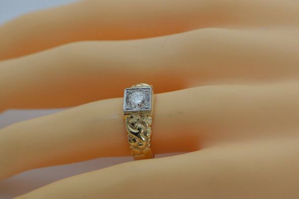 Superb Vintage 14K YG 1.15 Ct Round Diamond Ring Size 10.25 Circa 1940