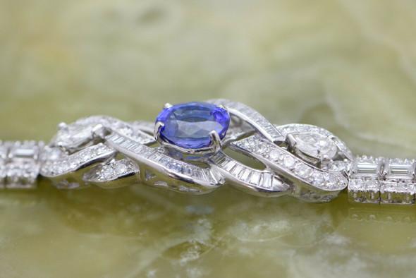 Superb Diamond and Tanzanite Platinum bracelet 12 ct tw est Circa 1960 6.5 inch