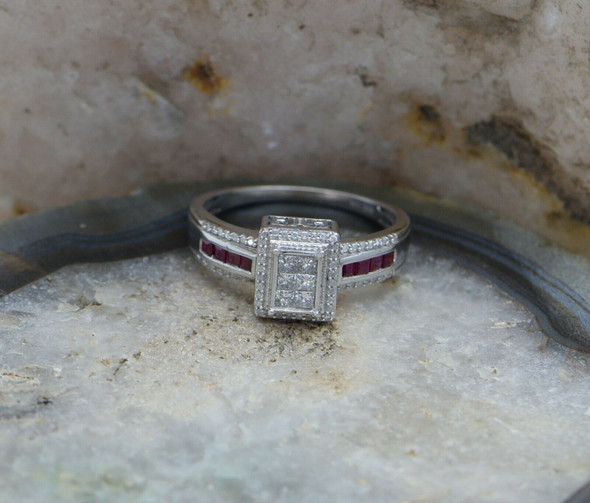 10K White Gold Diamond and Ruby Bling Ring, Size 12