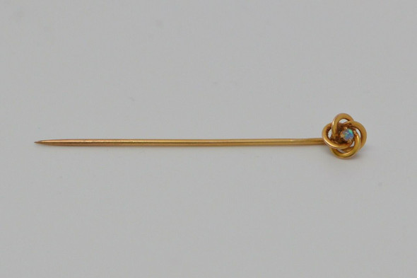 10k Yellow Gold Love Knot Stick Pin with Opal Center, Circa 1910