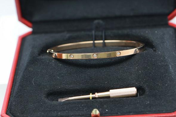 Cartier 18K Rose Gold with Diamonds Love Bracelet Hinged Design