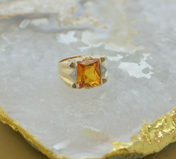 10K Yellow Gold Citrine Ring, Diamond Accent, Deco Style, Circa 1950, Size 8.25