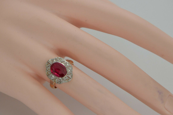 14K Yellow and White Gold Ruby Spinel and Diamond Ring, Circa 1920, Size 5.75