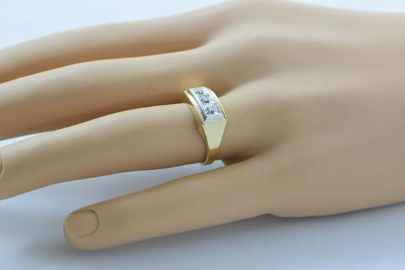 10K Yellow Gold 3 Diamond Men's Ring, Diamond Set in White Gold 1960's, Size 10