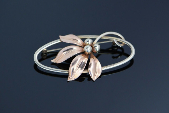 "10K Yellow & Rose Gold ""Forstner"" Floral Pin, Circa 1940"