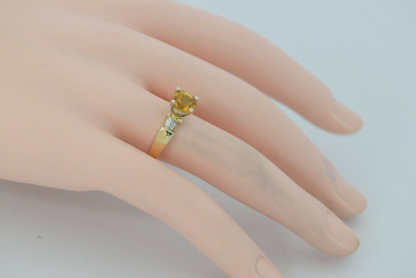 14K Yellow Gold Citrine and Diamond Baguette Ring, Circa 1980, size 7