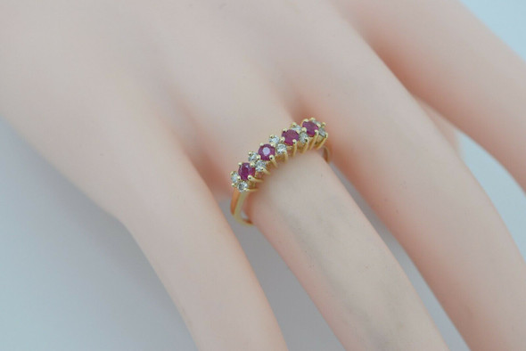 14K YG Ruby & Diamond Ring, 4 rubies, 10 diamonds Circa 1960 Size 7.5