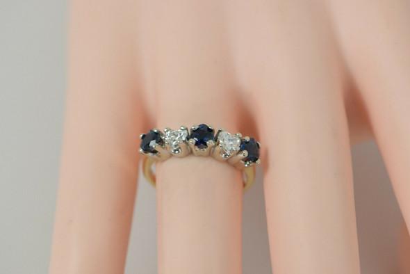 14K YG Sapphire & Diamond Hearts Ring 3 Heart Sapphires 2 Heart Diamonds, Size 6