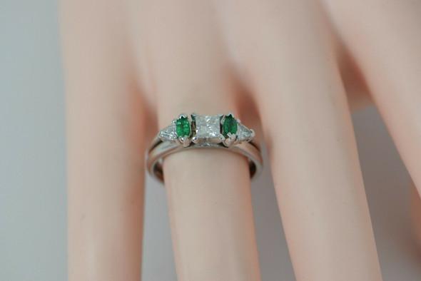 Diamond & Emerald Ring 14K WG Central Princess Diamond with Emeralds, Size 6.5