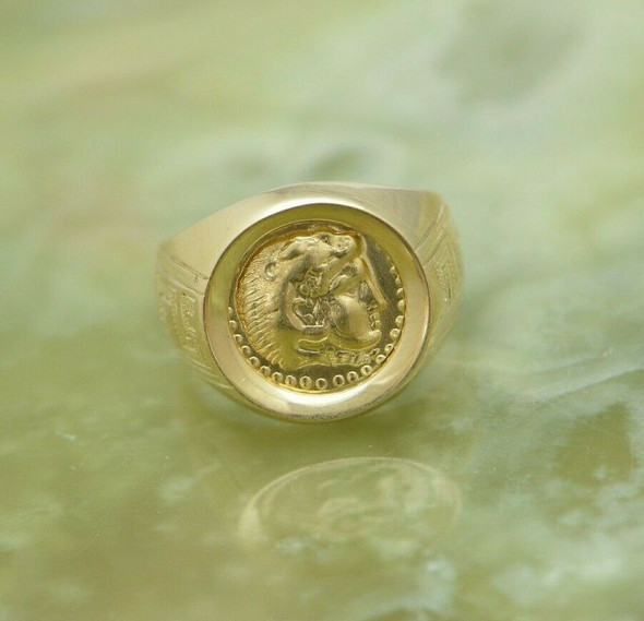Greek Style Coin Ring 18K YG Replica of Alexander Stater 1960, Size 6