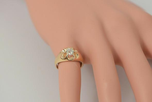 14K YG Diamond Ring Belcher Setting Old Mine Transitioned Cut Stone 1940 Size 4