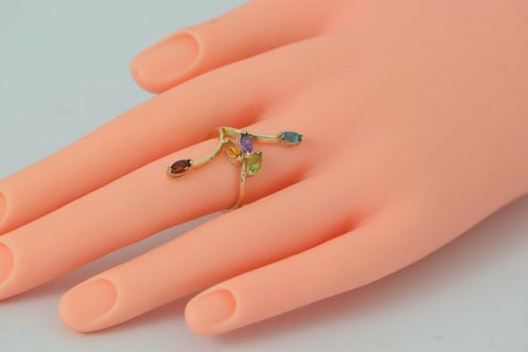 Multicolor Stone Ring 14K YG Maker ASHER Size 6.5 Topaz Amethyst Citrine Garnet