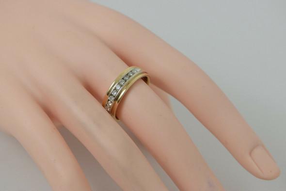 Channel set Diamond Band 14K Multi-Tone Gold H SI1 Maker Finesse Size 9