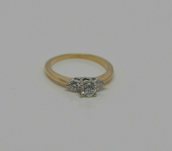 14K YG Diamond 3 Stone Ring, H SI1, White Gold Head, Circa 1960, Size 5.5