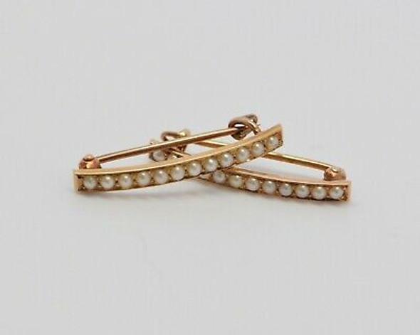 14K Yellow Gold 2 Pearl Set Collar Pins, Circa 1910