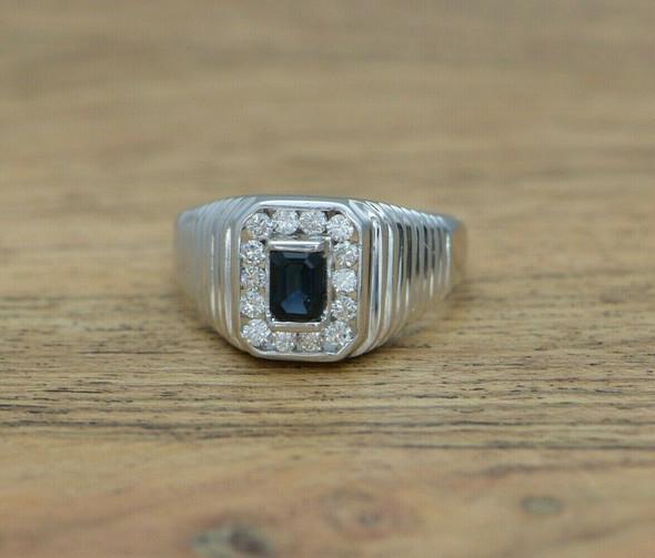 14K Man's WG Emerald Cut Sapphire and Diamond Ring Size 11 Circa 1980