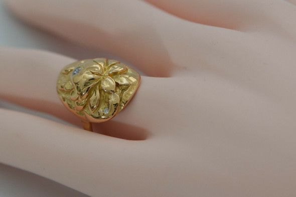 14K Rose Gold Floral Design with Diamond Accents Ring Size 8 Circa 1950