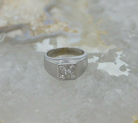 14K White Gold Men's Diamond Ring, 1/2 ct tw, Circa 1960, Size 7