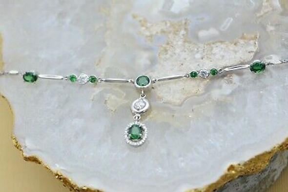 Platinum Necklace Diamond and Demantoid Garnet 5 ct tw Estimated, Circa 1970's