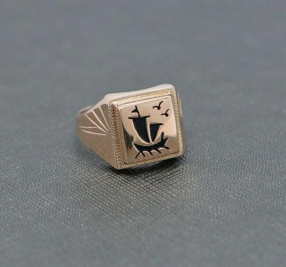 14K Rose Gold Sailboat Signet Style Ring Size 7.25 Circa 1980