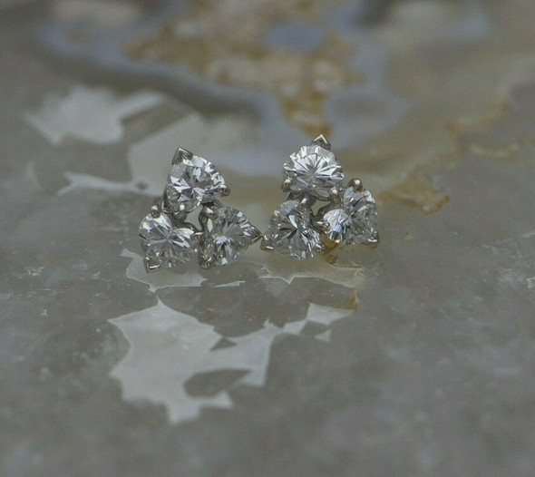 Super Cartier Heart Shaped Diamond Studs Set in 18K WG Signed and Numbered