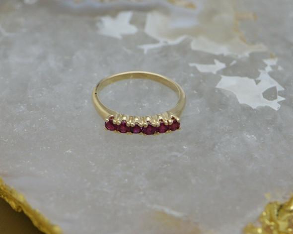14K Yellow Gold Ruby Ring, 6 Round Rubies, Circa 1960, Size 8