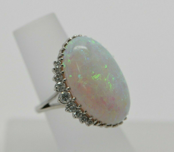 Superb Opal and Diamond Ring set in Platinum Size 5.5