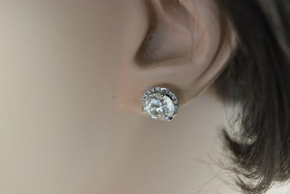 3 ct Plus Diamond Stud Earrings Diamond Halo Surround Old Mine Cuts