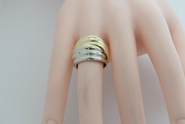 14K White and Yellow Gold Diamond Modernist Ring, Circa 1990, Size 6.25