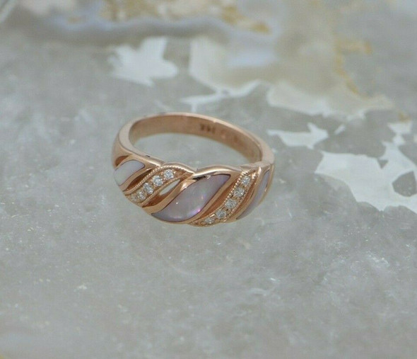 14K Pink Gold, Mother of Pearl & Diamond Ring, Circa 1990, Size 7.75