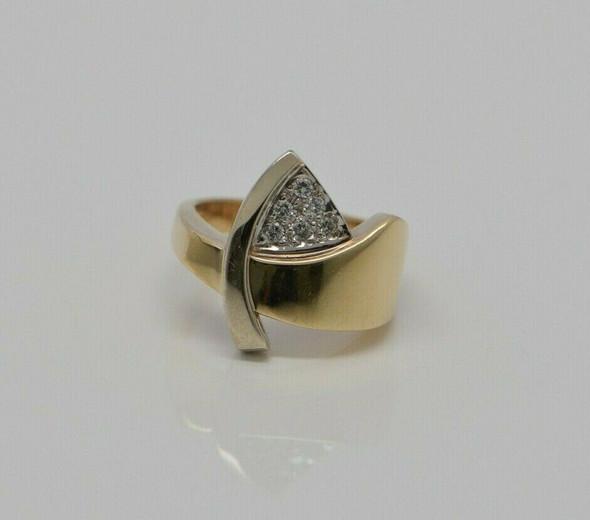 14K White & Yellow Gold Modernist Diamond Cocktail Ring, Circa 1970, Size 7