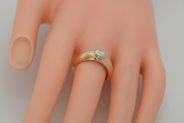 14K Rose Gold Diamond Ring, Collet Set in Yellow Gold Circa 1960, Size 7.5