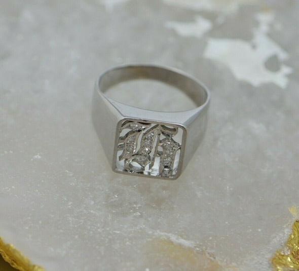 14K White Gold Tested Diamond H Monogram Unisex Ring, Circa 1940, Size 9