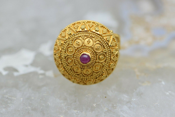 Superb 22K YG Ruby set Granulated Dome Ring Circa 1970 Size 7