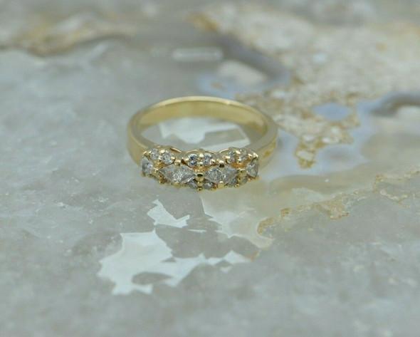 14K YG Unusual Design Diamond Ring Size 9 Circa 1990